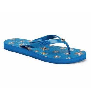 Coach Abbigail blue star rubber sandals